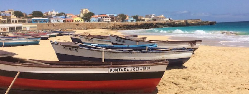 Boats on Vila do Maio beach, Cape Verde