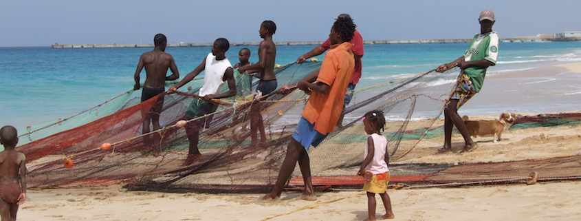 fishing nets on maio beach