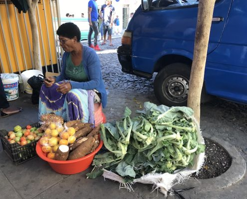 Selling vegetables on Fogo