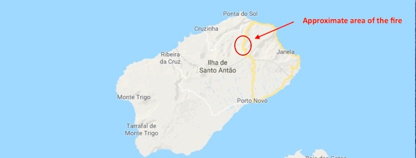 santo antao fire damage map