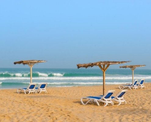 Sun loungers on the beach of Boa Vista
