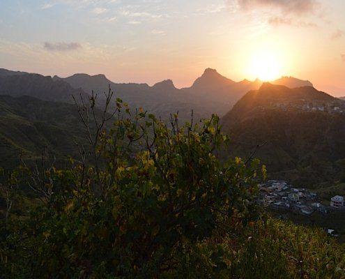 Mountain sunset Santiago Cape Verde