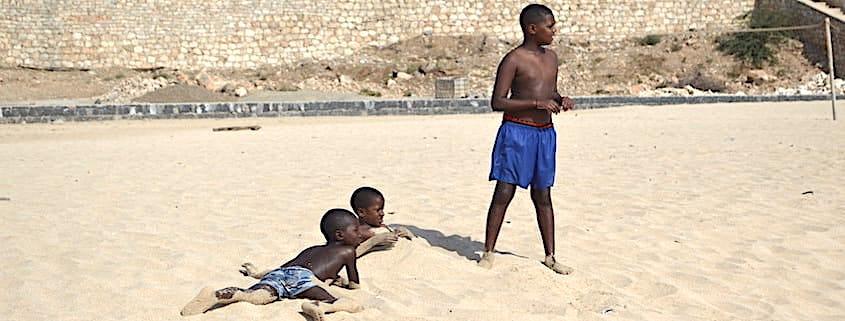 Children on the beach in Maio