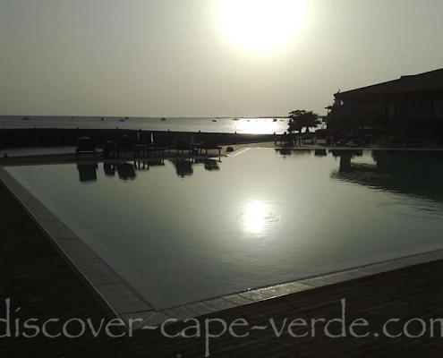 Sunset over pool on Sal